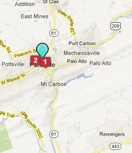 Map of Pottsville, PA hotels