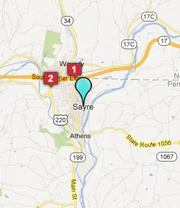 Map of Sayre, PA hotels