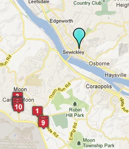 Map of Sewickley, PA hotels