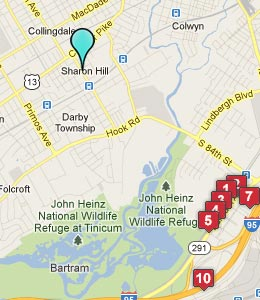 Map of Sharon Hill, PA hotels