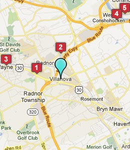 Map of Villanova, PA hotels