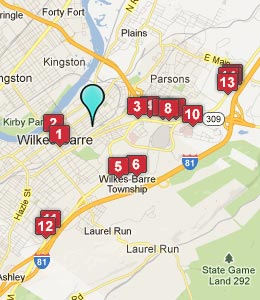 Map of Wilkes-Barre, PA hotels