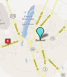 Map of Barnwell, SC hotels