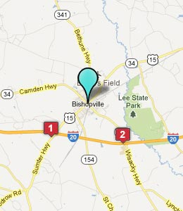 Map of Bishopville, SC hotels