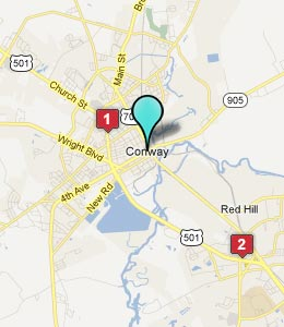 Map of Conway, SC hotels