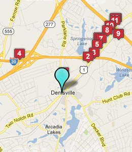 Map of Dentsville, SC hotels