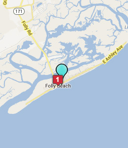 Map of Folly Beach, IN hotels