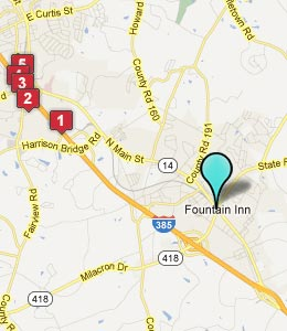 Map of Fountain Inn, SC hotels