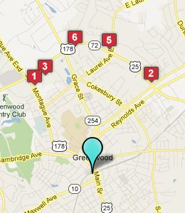 Map of Greenwood, SC hotels