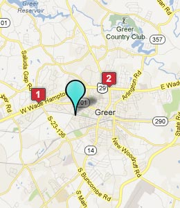 Map of Greer, SC hotels