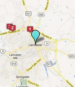 Map of Lancaster, SC hotels