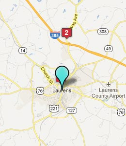 Map of Laurens, SC hotels