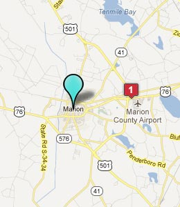 Map of Marion, SC hotels