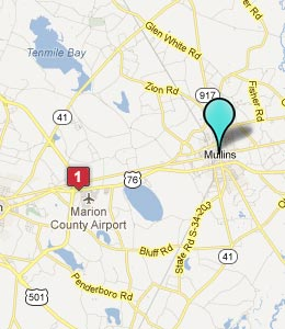 Map of Mullins, SC hotels