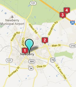 Map of Newberry, SC hotels