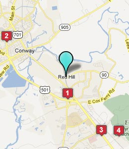 Map of Red Hill, SC hotels