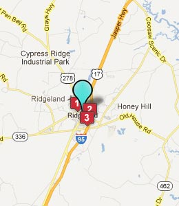 Map of Ridgeland, SC hotels