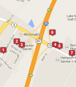 Map of Santee, SC hotels