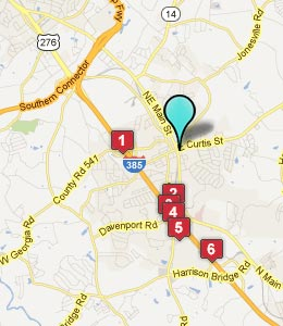 Map of Simpsonville, SC hotels