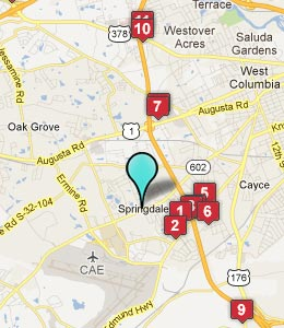Map of Springdale, SC hotels