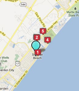 Map of Surfside Beach, SC hotels