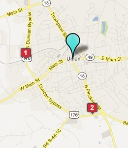 Map of Union, SC hotels