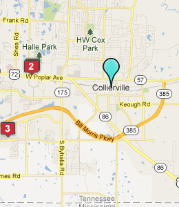 Map of Collierville, TN hotels