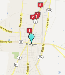 Map of Covington, TN hotels
