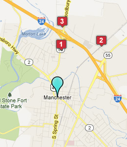 Map of Manchester, TN hotels