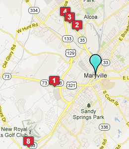 Map of Maryville, TN hotels