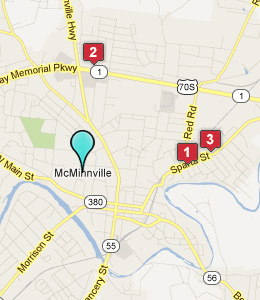 Map of McMinnville, TN hotels
