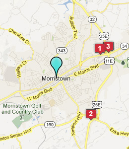 Map of Morristown, TN hotels