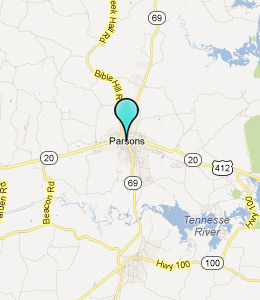 Map of Parsons, TN hotels