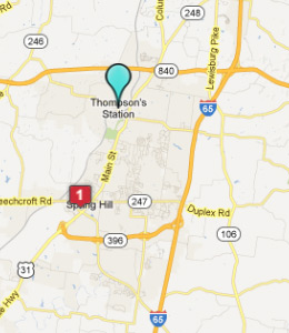 Map of Thompson's Station, TN hotels
