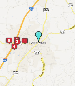Map of White House, TN hotels