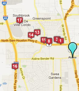 Map of Aldine, TX hotels