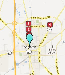 Map of Angleton, TX hotels