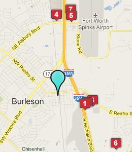 Map of Burleson, TX hotels
