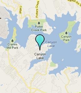Map of Canyon Lake, TX hotels
