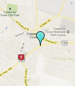 Map of Copperas Cove, TX hotels