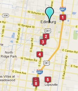 Map of Edinburg, TX hotels