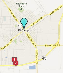 Map of El Campo, TX hotels