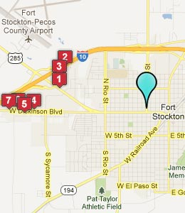 Map of Fort Stockton, TX hotels