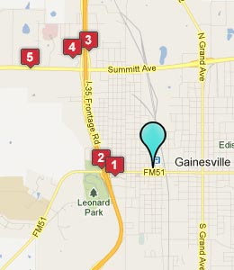 Map of Gainesville, TX hotels