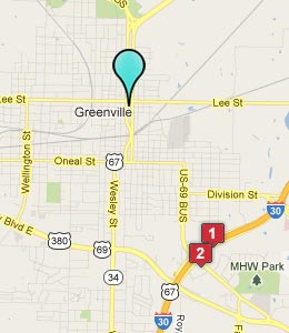 Map of Greenville, TX hotels