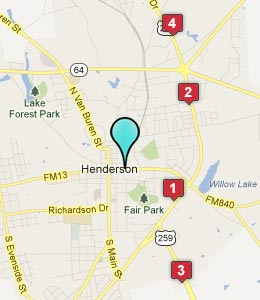 Map of Henderson, TX hotels