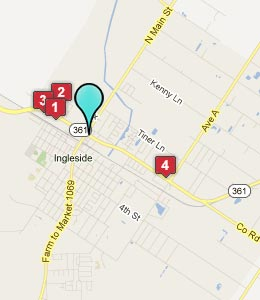 Map of Ingleside, TX hotels