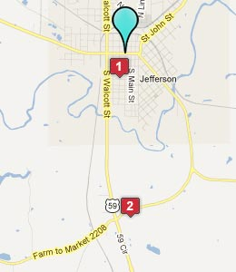 Map of Jefferson, TX hotels