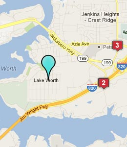 Map of Lake Worth, TX hotels