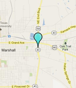 Map of Marshall, TX hotels